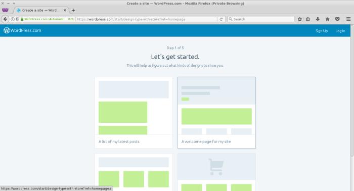 Pilih layout situs