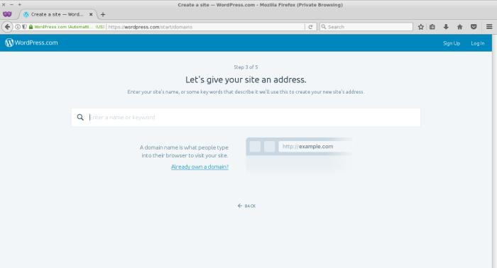 Buat nama blog / url