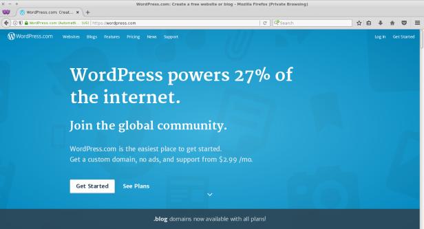 Tampilan awal WordPress.Com